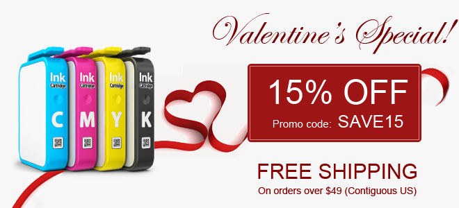 Valentine sale - 15 percent off all ink and toner cartridges