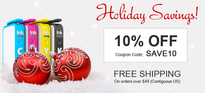 Holiday ink sale - 10 percent off all ink and toner cartridges